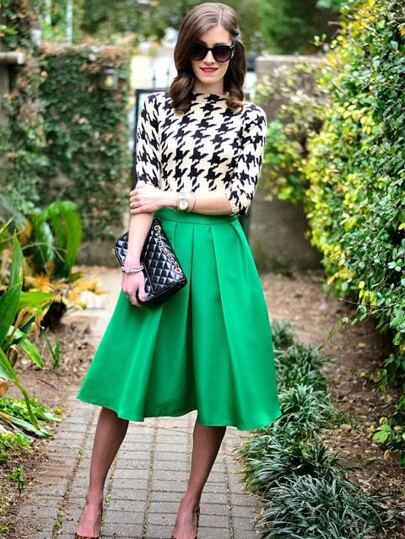 Green Flare Pleated Midi Skirt