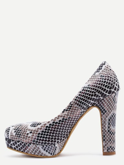 Snake Embossed Thick Heel Platform Pumps
