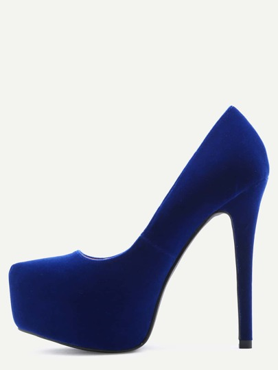 Blue Faux Suede Platform Pumps