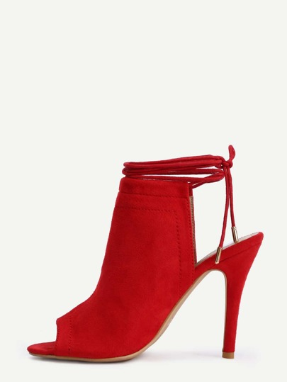 Peep Toe Lace-Up Slingback Pumps - Red