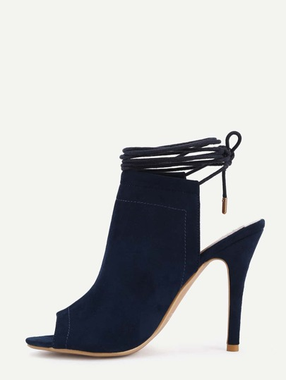 Peep Toe Lace-Up Slingback Pumps - Dark Blue