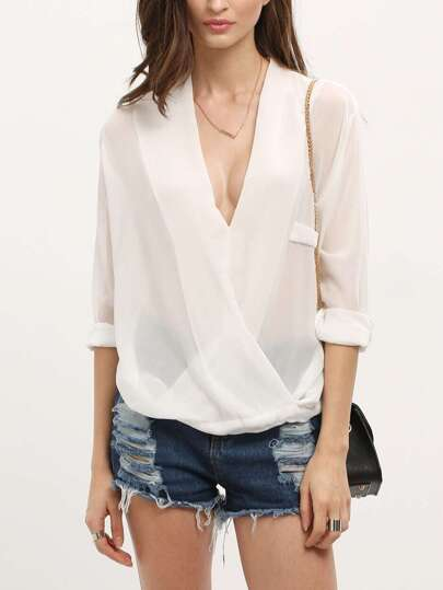 V Cut Dip Hem Wrap Blouse