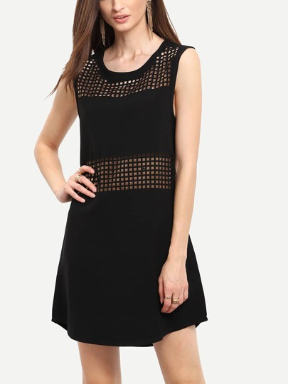 Black Sleeveless Hollow Dress