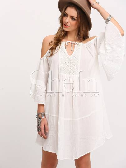 White Spaghetti Strap Cold Shoulder Dress