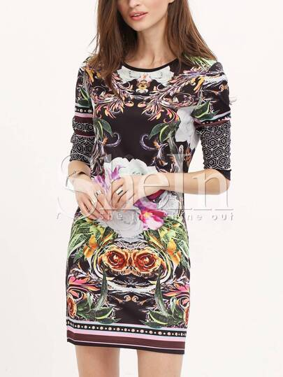 Challis Long Sleeve Petals Flowery Floral Dress