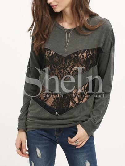 Drop Shoulder Bib With Lace T-Shirt