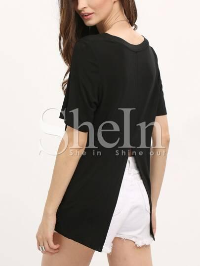 Black Short Sleeve Split Back T-shirt
