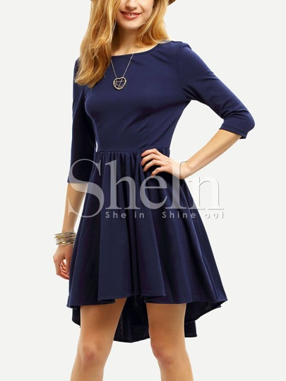 Navy Semiformal Backless Elbow Sleeve Pleated Dress