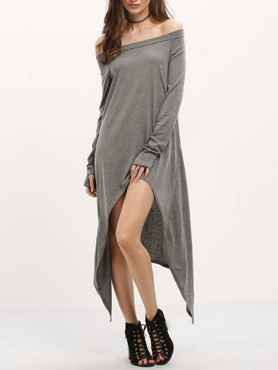 Grey Asymmetrical Casual Dress