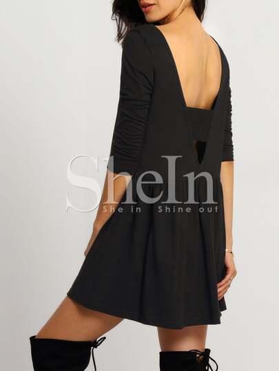 Black Round Neck Backless Dress