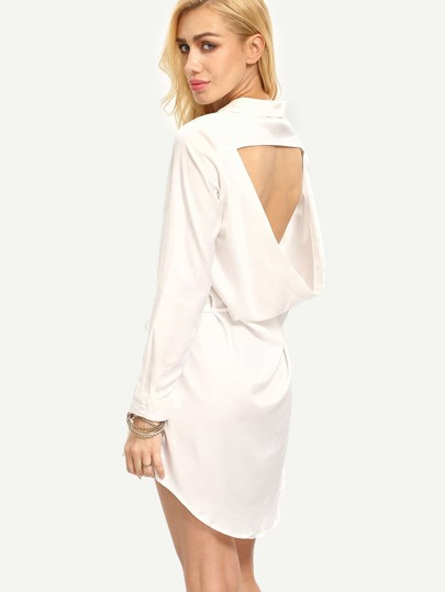 White Cut Out Back Shirt Dress