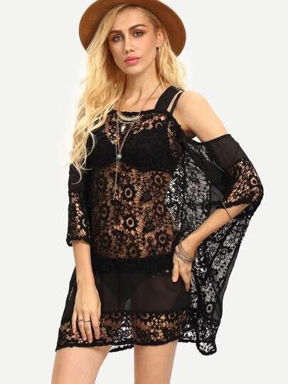 Black Square Neck Crochet Lace Loose Strap Dress
