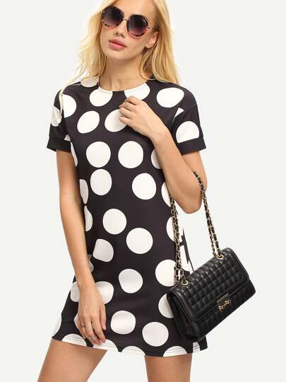 Black White Dots Zipper Back Short Sleeve Dress