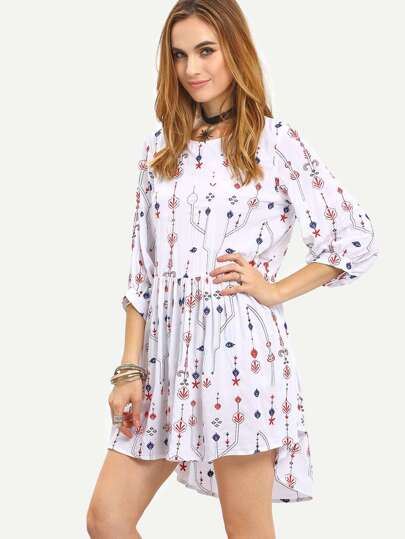 White Tribal Embroidered Shift Dress