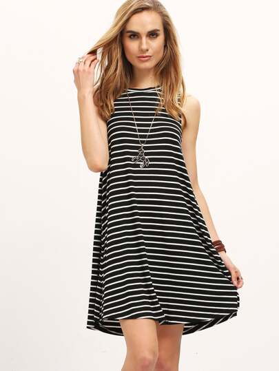 Contrast Striped Sleeveless Tee Dress