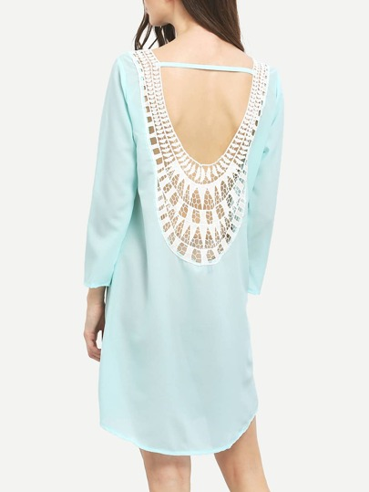 Neon Blue Seafoam Lace Crochet Shift Dress