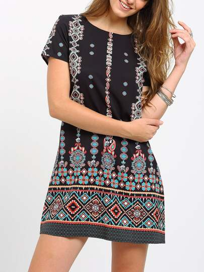 Black Aztec Print Shift Dress