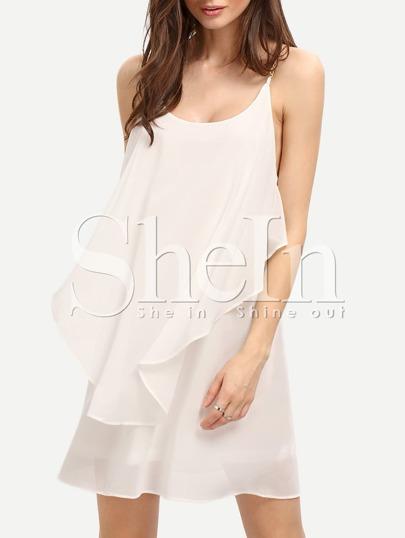 White Slip Spaghetti Strap Wrinkle Ruffle Dress