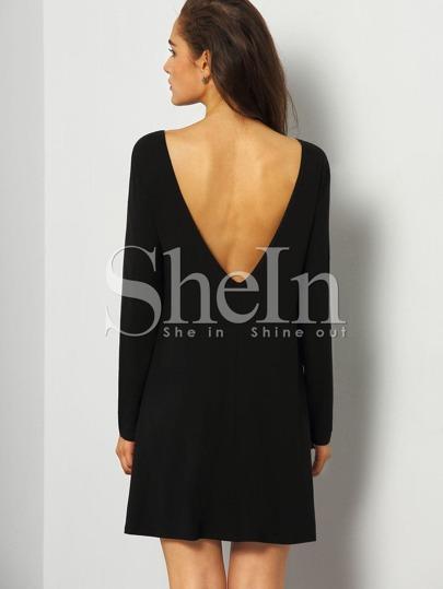 Black Long Sleeve Minimalist Simple V Back Dress