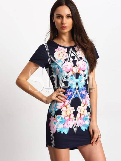 Multicolour Floral Shift Dress