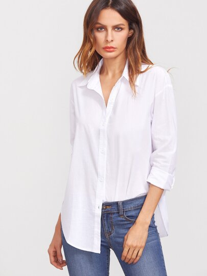 Deep-Plunge Neck Curved Hem Blouse