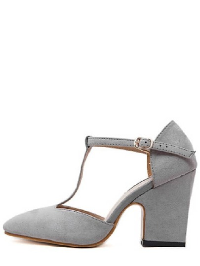Gray Cow Suede T-strap Chunky Heel Pumps