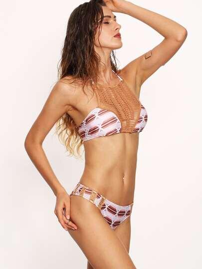 Neckholder Bikini Set mit Geometrie Druck und Häkeleinsatz