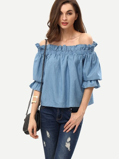 Blue Off The Shoulder Ruffle Half Sleeve Blouse