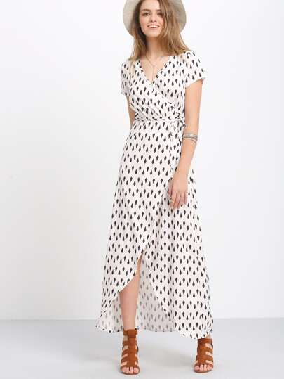 Geometric Print Wrap Dip Hem Dress