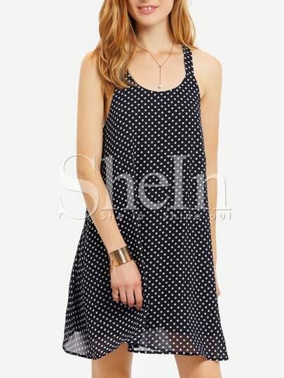Blue Sleeveless White Polka Dots Shift Dress