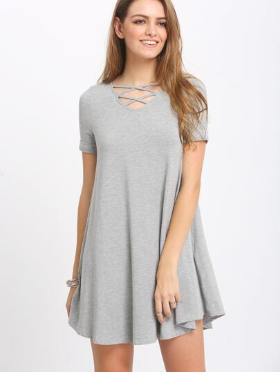 Grey Crisscross Short Sleeve Casual Dress