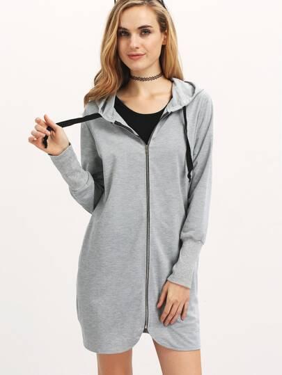 Grey Hooded With Zipper Sweatshirt
