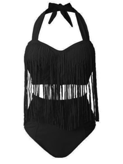 Black Halter High Waist Fringe Plus Swimwear