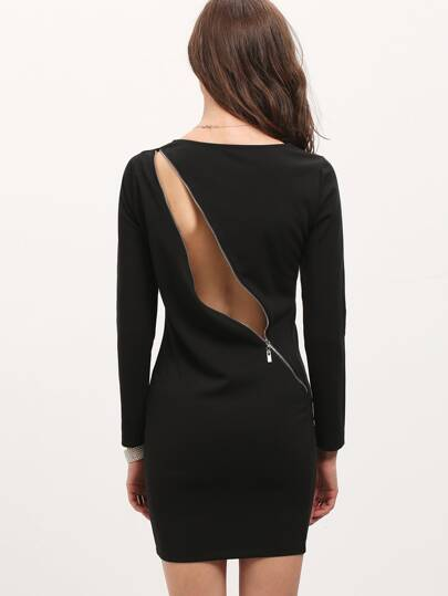 Black Long Sleeve Backless Zip Bodycon Dress