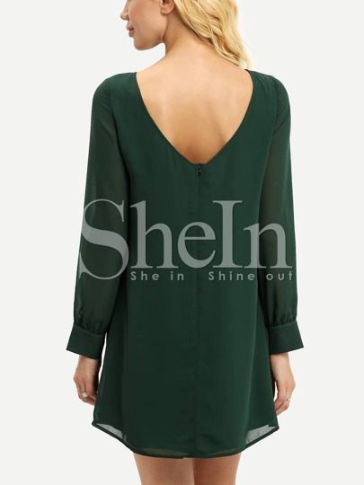 Green Boat Neck Scoop Back Shift Dress