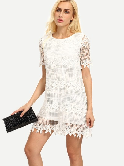 White Crochet Trim Lining Shift Dress