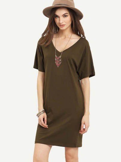 Army Green V Neck Short Sleeve Shift Dress