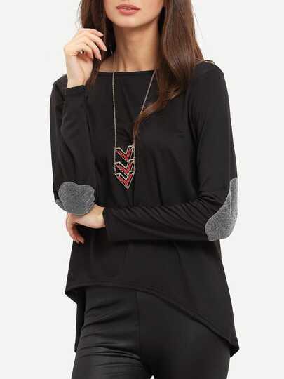 T-shirt trapèze décontracté -Noir