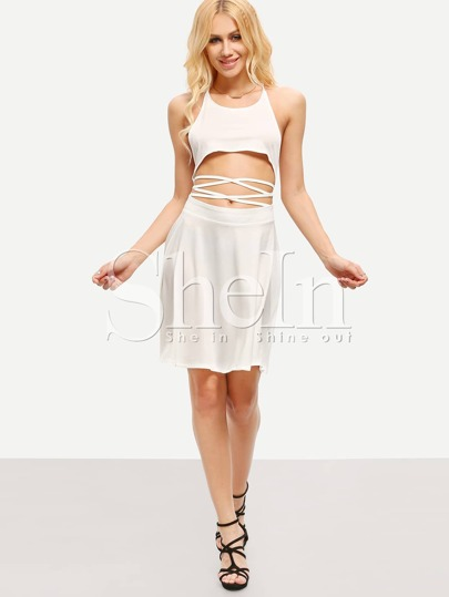 White Criss Cross Back Midriff Mini Dress