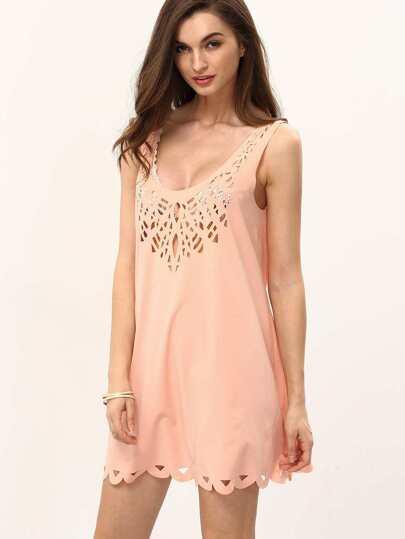 Pink U Neck Hollow Shift Dress