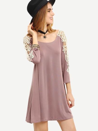 Khaki Long Sleeve Contrast Lace Shift Dress