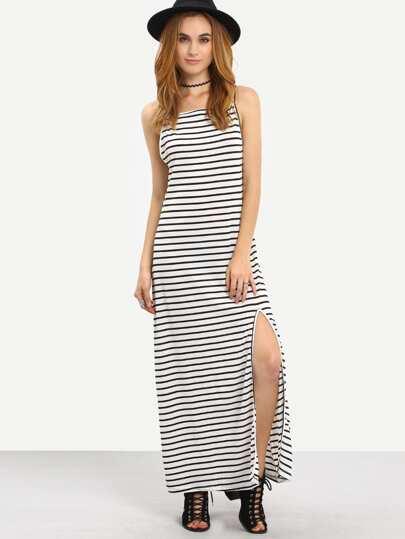 White Backless Striped Split Shift Dress