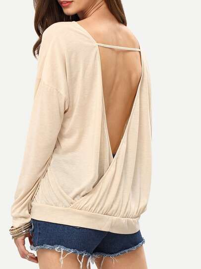 Apricot Long Sleeve Unique Backless T-Shirt
