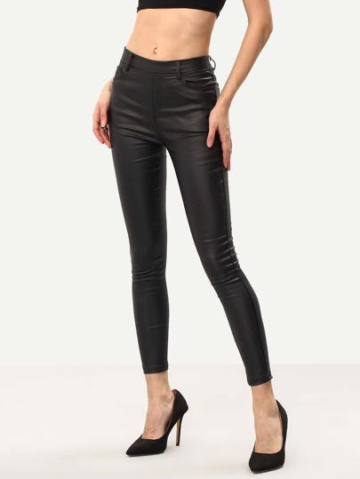 Black Slim PU Pant