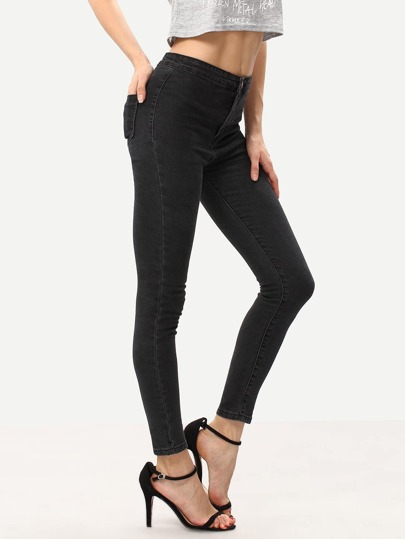 Black High Waist Pockets Slim Pant