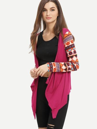 Rose Red Geometric Print Drape Front Knit Coat