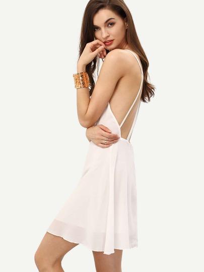 White Spaghetti Strap Backless Chiffon Flapper Dress
