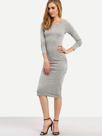 Grey Round Neck Ruched Front Sheath Dress