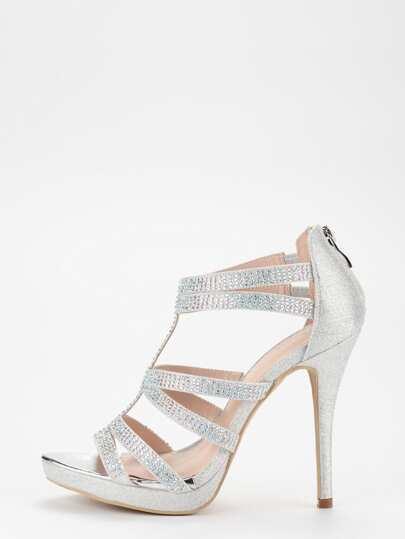 Silver Glitter Caged Platform Sandals