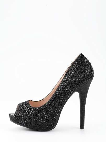 Black Sequin Peep Toe Platform Pumps